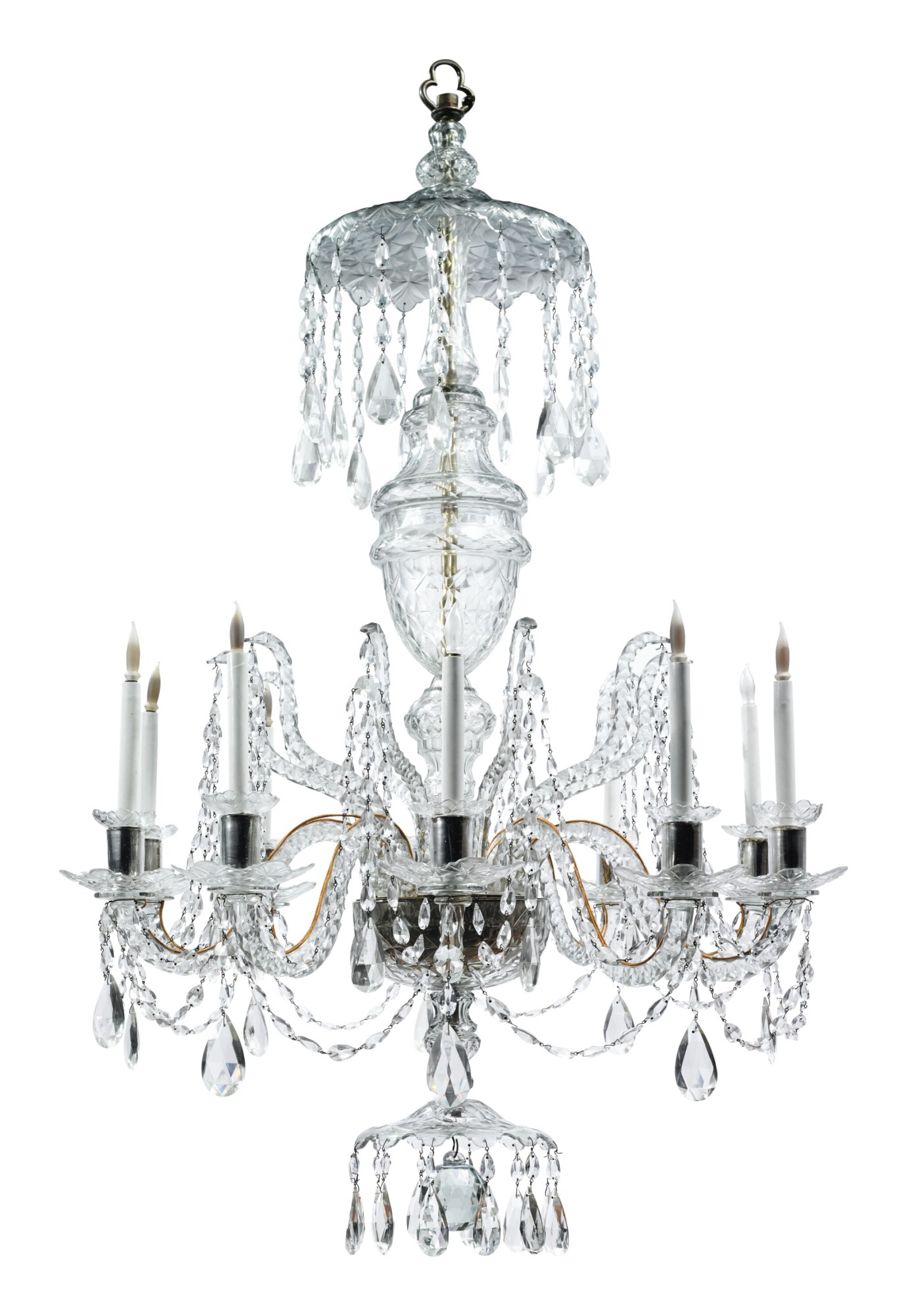 View full screen - View 1 of Lot 281. A GEORGE III STYLE CUT GLASS TEN-LIGHT CHANDELIER.