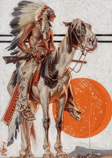 View 1. Thumbnail of Lot 25. JOSEPH CHRISTIAN LEYENDECKER | INDIAN WITH CAMPFIRE BELOW.