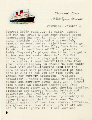 View 1. Thumbnail of Lot 8. Sylvia Plath | Typed letter signed, to Ted Hughes, with her poem 'Monologue at 3am', 4 October 1956.