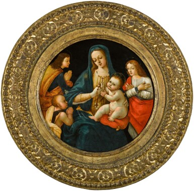 View 3. Thumbnail of Lot 10. MICHELANGELO DI PIETRO MEMBRINI, FORMERLY KNOWN AS THE MASTER OF THE LATHROP TONDO     MADONNA AND CHILD, WITH THE INFANT SAINT JOHN AND TWO SAINTS.