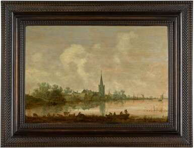 View 2. Thumbnail of Lot 132. JAN JOSEFSZ. VAN GOYEN | RIVER LANDSCAPE WITH A VILLAGE AT THE WATER'S EDGE, CATTLE AND FIGURES IN THE FOREGROUND .