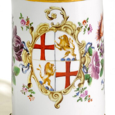 View 2. Thumbnail of Lot 15. AN AUSTRIAN PORCELAIN TANKARD AND COVER, WITH GERMAN SILVER GILT MOUNT, MOST PROBABLY JOHANN BAPTISTE SEITZ, CONSTANCE, CIRCA 1760.