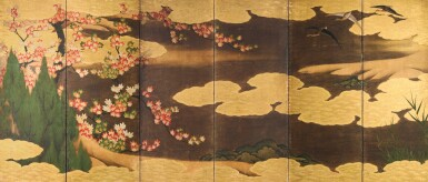 ANONYMOUS, EDO PERIOD, 17TH CENTURY | GEESE AMONG CLOUDS AND MAPLE TREES