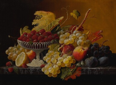 View 2. Thumbnail of Lot 8. SEVERIN ROESEN   STILL LIFE OF FRUIT WITH COMPOTE OF STRAWBERRIES AND STILL LIFE WITH FRUIT AND EMBROIDERED CLOTH: A PAIR OF WORKS.