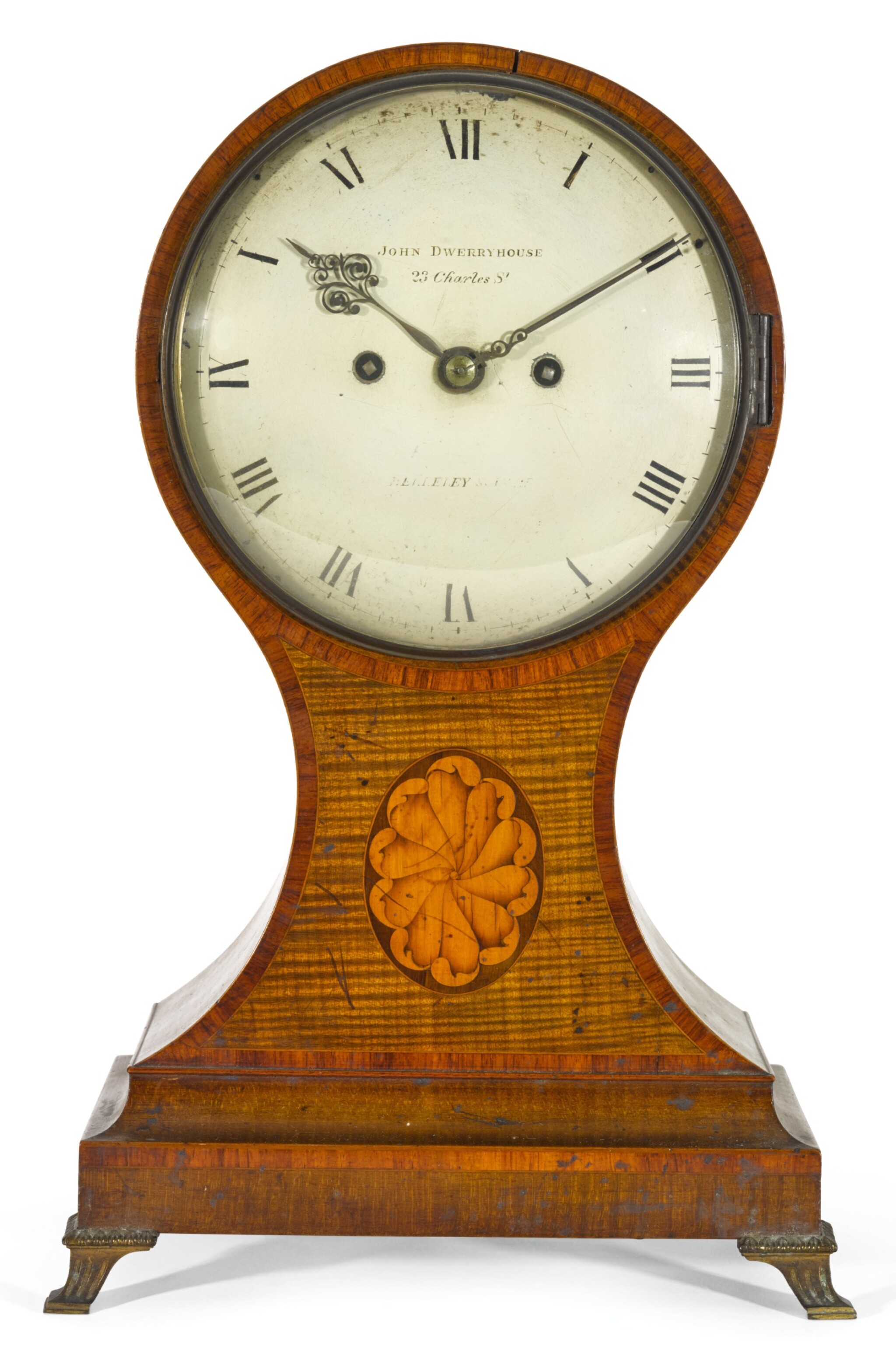 View full screen - View 1 of Lot 37. A GEORGE III TULIPWOOD AND HAREWOOD BALLOON TABLE CLOCK, JOHN DWERRYHOUSE, LONDON, CIRCA 1790.