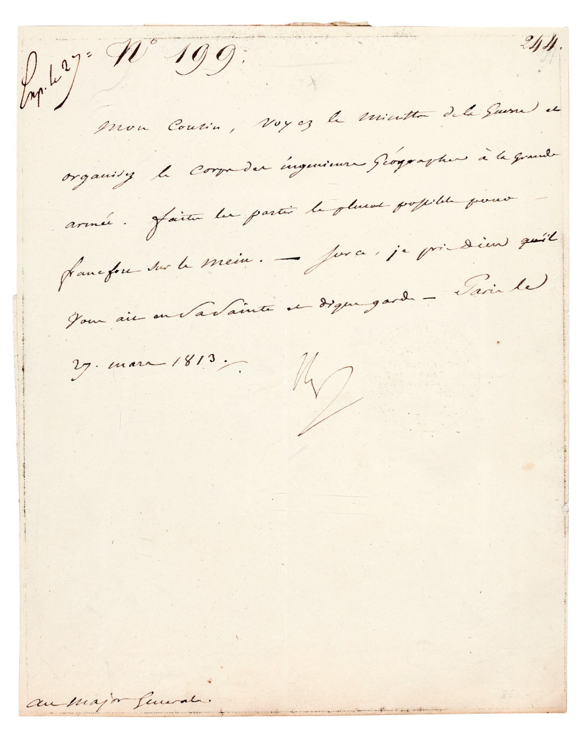 """View full screen - View 1 of Lot 89. NAPOLEON I   letter signed, to Marshal Berthier """"Mon Cousin"""", 27 March 1813."""