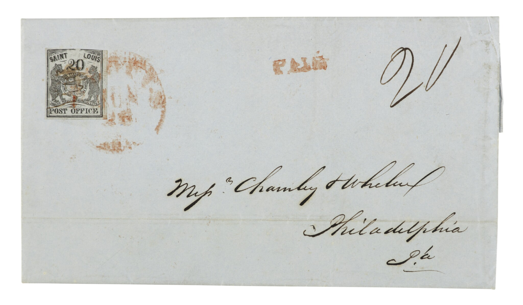 View full screen - View 1 of Lot 17. Postmaster's Provisional St. Louis, MO. 1846 20c Black on Gray Lilac (11X6)  .