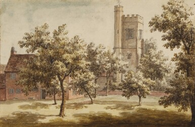 JONATHAN SKELTON | A church tower seen from an orchard, probably St. Mary's, Beddington