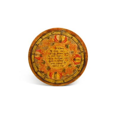 View 8. Thumbnail of Lot 1. A set of twelve Elizabethan polychrome decorated sycamore roundels, late 16th/early 17th century.