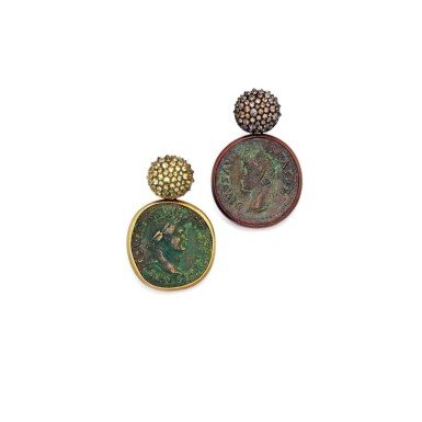 View 1. Thumbnail of Lot 202. Pair of Ancient Coin and Colored Diamond Pendant-Earclips.
