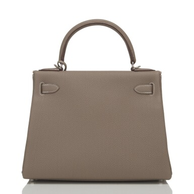 Hermès Etoupe Retourne Kelly 28cm of Togo Leather with Palladium Hardware