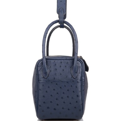 Hèrmes Bleu Iris Lindy 26cm of Ostrich with Palladium Hardware
