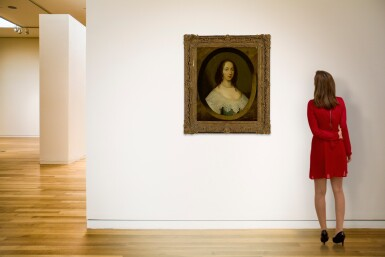 View 4. Thumbnail of Lot 582. ATTRIBUTED TO CORNELIUS JOHNSON | PORTRAIT OF A LADY, BUST LENGTH, IN A PAINTED OVAL.
