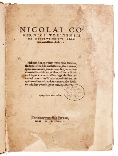 View 2. Thumbnail of Lot 11. Copernicus | De revolutionibus orbium coelestium, Nuremberg, 1543, later boards, Rostock duplicate.