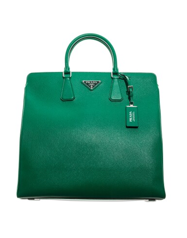 View 5. Thumbnail of Lot 58. PRADA |  TWO  SAFFIANO LEATHER GALLERIA TOTE BAGS IN BLUE AND IN GREEN UNIQUE COLORS NOT IN THE STORES.