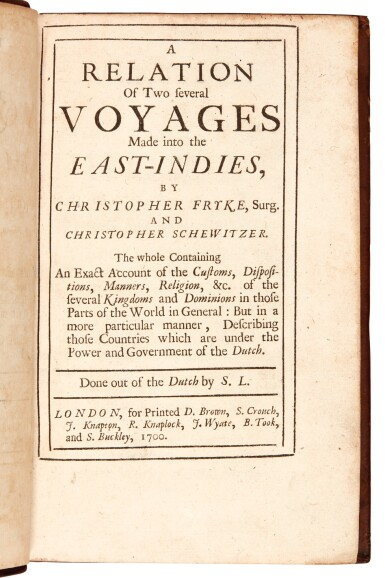 Frick and Schweitzer | A relation of two several voyages made into the East-Indies, 1700