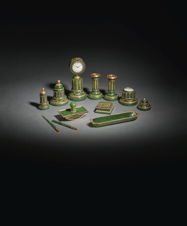 View 4. Thumbnail of Lot 34. A Highly Important Fabergé Varicolored Gold-Mounted Nephrite Desk Set, Workmaster Henrik Wigström, St Petersburg, 1903-1912.