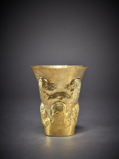 View 2. Thumbnail of Lot 93. Sicán Gold Beaker with Frogs Circa AD 900 - 1100.
