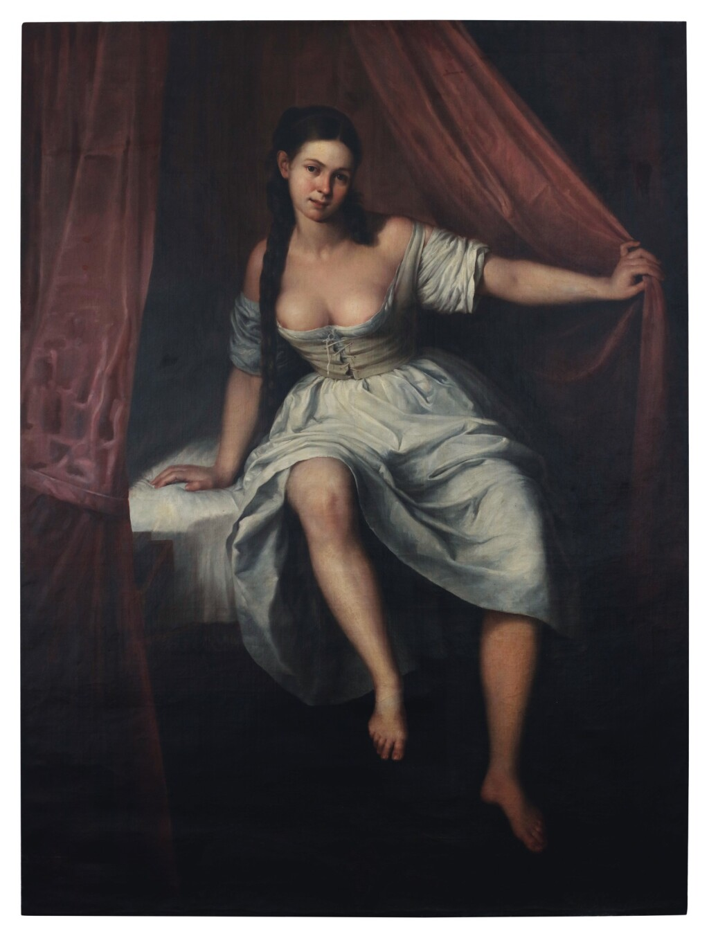 SPANISH SCHOOL, 19TH CENTURY   A WOMAN SITTING ON THE EDGE OF A BED