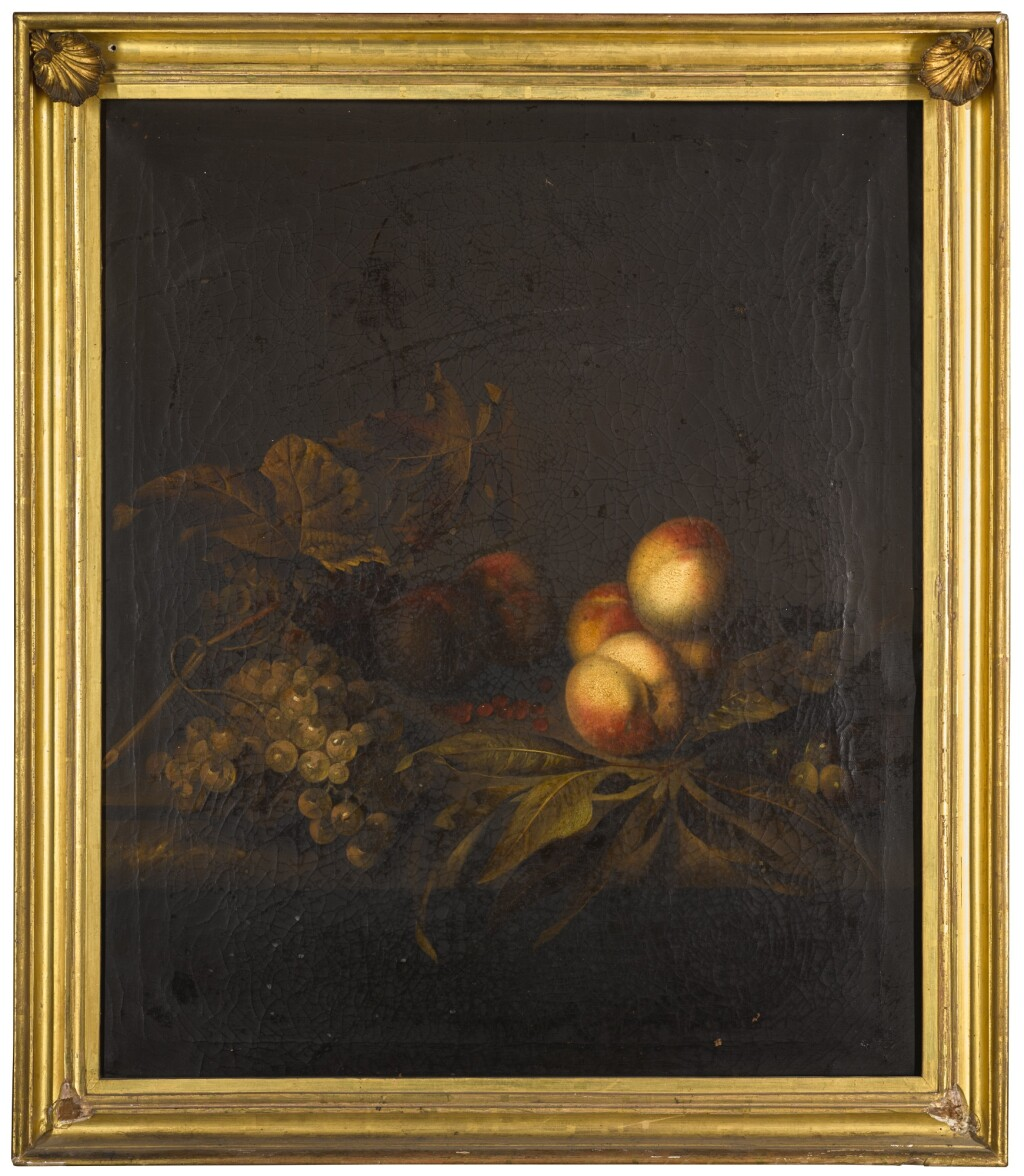 BAREND VAN DER MEER | Still life of peaches, grapes and vine leaves, all on a stone ledge