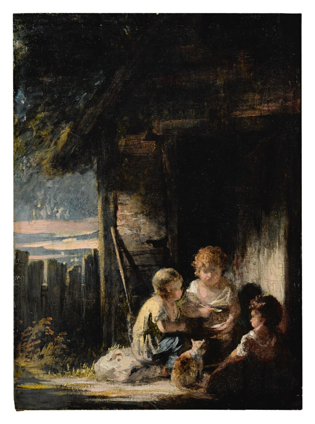CIRCLE OF SIR JOSHUA REYNOLDS, P.R.A.   THREE CHILDREN OUTSIDE A COTTAGE DOOR WITH A CAT