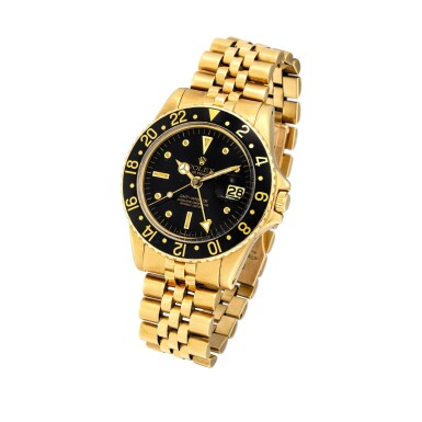 """View 2. Thumbnail of Lot 2262. Rolex   GMT-Master II """"Nipple Dial"""", Reference 1675, A yellow gold dual time zone wristwatch with date and bracelet, Circa 1978   勞力士   GMT-Master II """"Nipple Dial"""" 型號1675  黃金兩地時間鏈帶腕錶,備日期顯示,約1978年製."""