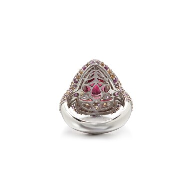 View 3. Thumbnail of Lot 5. PINK TOURMALINE AND COLOURED SAPPHIRE RING.