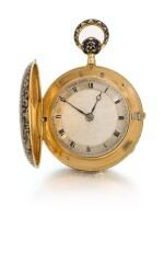 MILWARD | GOLD AND ENAMEL HUNTER-CASED QUARTER REPEATING WATCH