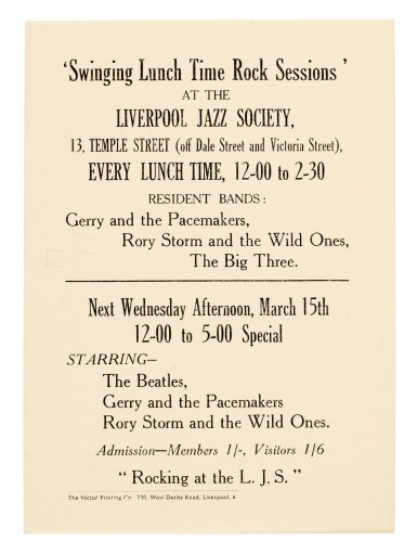 View 1. Thumbnail of Lot 4. THE BEATLES   'Swinging Lunch Time Rock Sessions', handbill, 15 March 1961.