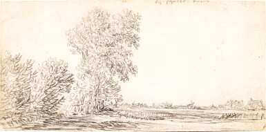 View 1. Thumbnail of Lot 98. Landscape with a Row of Trees and a Village in the Distance.