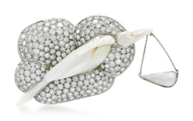 View 1. Thumbnail of Lot 276.  GEOFF ROWLANDSON | CULTURED PEARL AND DIAMOND BROOCH, 'SPECIAL DELIVERY'.