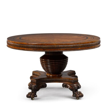 View 1. Thumbnail of Lot 106. A GEORGE IV BURR OAK, ROSEWOOD AND MARQUETRY CENTRE TABLE BY JOSEPH AND SAMUEL HARPER.