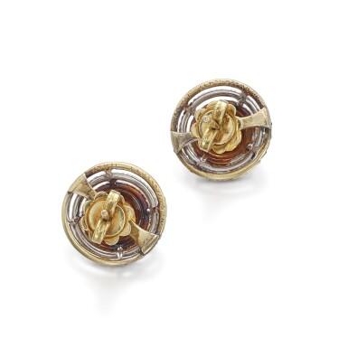View 3. Thumbnail of Lot 1242. Pair of citrine earrings.