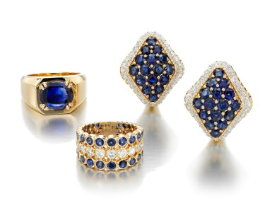 SAPPHIRE RING, MONTURE CARTIER, PAIR OF SAPPHIRE AND DIAMOND EAR CLIPS, AND A RING