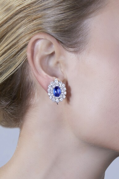 View 2. Thumbnail of Lot 7. Van Cleef & Arpels [梵克雅寶] | Pair of Sapphire and Diamond Earclips [藍寶石配鑽石耳環一對].