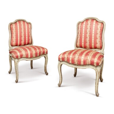 A PAIR OF LOUIS XV PAINTED SIDE CHAIRS, MID-18TH CENTURY
