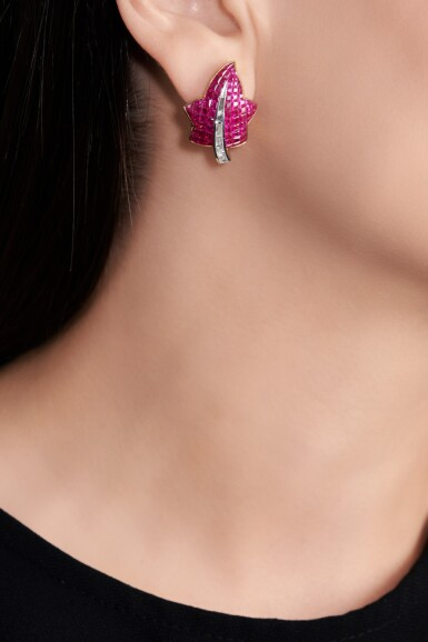 View 4. Thumbnail of Lot 57. Pair of ruby and diamond ear clips.