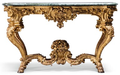 A NORTH ITALIAN CARVED GILTWOOD SIDE TABLE, PIEMONTE SECOND QUARTER 18TH CENTURY, FROM THE CIRCLE OF FILIPPO JUVARRA