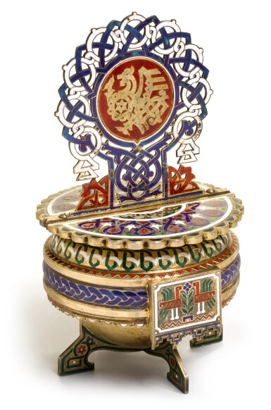 View 1. Thumbnail of Lot 164. A silver-gilt and champlevé enamel salt throne, A.M. Postnikov partnership, Moscow, 1877.