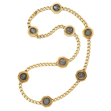 View 1. Thumbnail of Lot 242. Gold and Antique Coin 'Monete' Necklace.