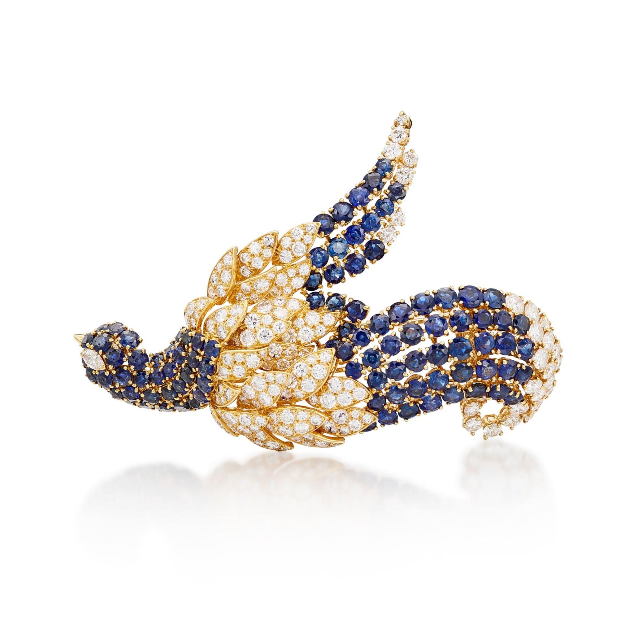 View full screen - View 1 of Lot 8015. Sapphire and Diamond Brooch | 藍寶石 配 鑽石 胸針.