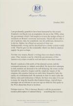 MARGARET THATCHER, SIGNED SPEECH ON HAYEK, 2003