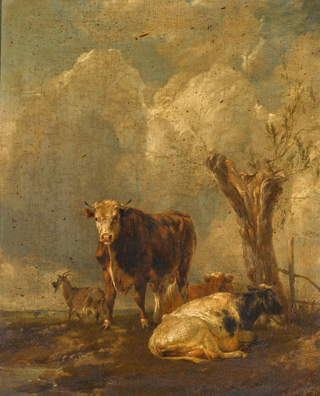 THOMAS SIDNEY COOPER, R.A. | A bull with two cows and a goat beside a pollarded willow