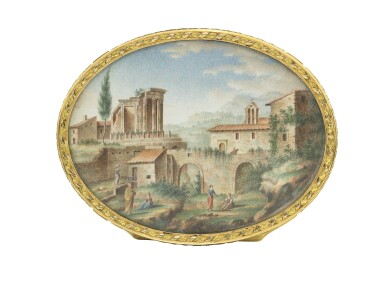 View 4. Thumbnail of Lot 30. A boîte-à-miniatures with three-colour gold mounts.