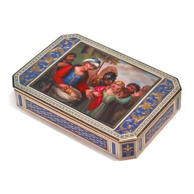 A SWISS ENAMELED GOLD SNUFF BOX, CIRCA 1800