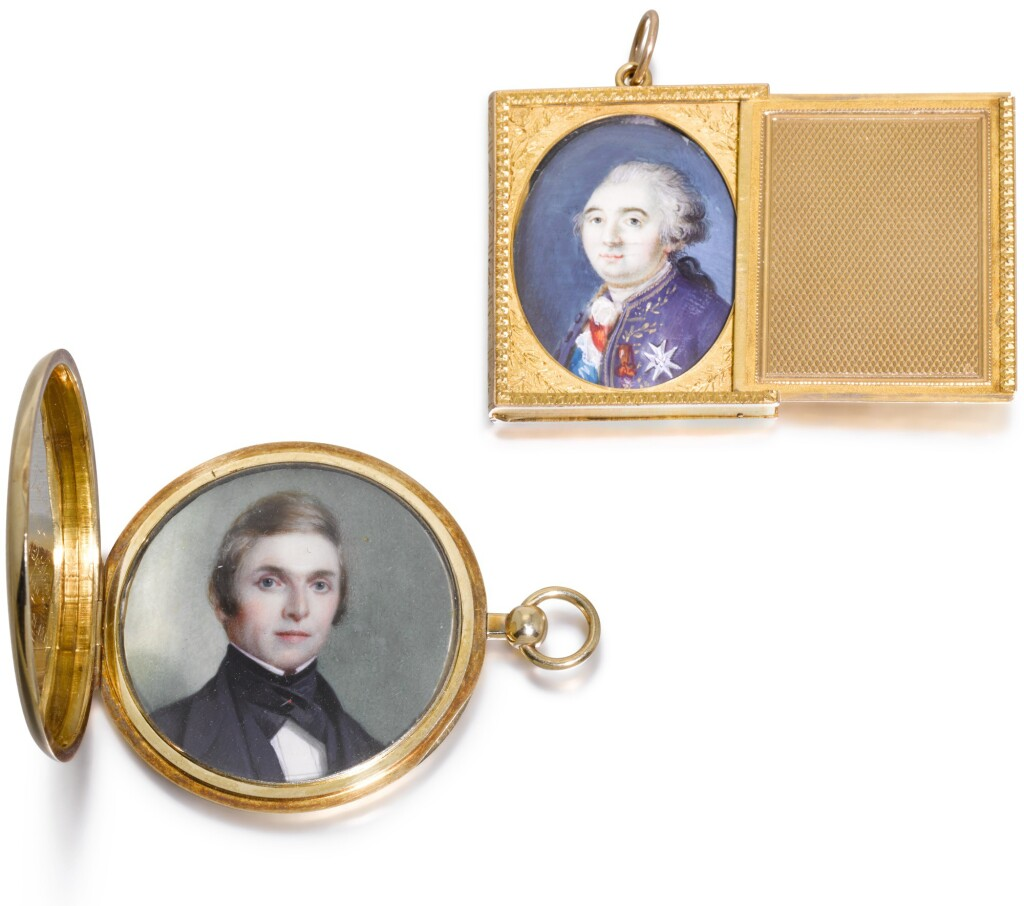 TWO ENGINE-TURNED GOLD LOCKETS, ONE SIMON-ACHILLE LÉGER, PARIS, 1815/16-1826, THE OTHER UNMARKED, PROBABLY AMERICAN, DATED 1847
