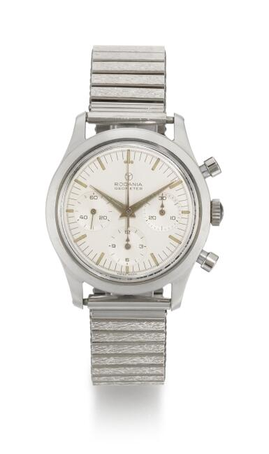View 1. Thumbnail of Lot 34. RODANIA    GEOMETER, REFERENCE 5621 H STAINLESS STEEL CHRONOGRAPH WRISTWATCH WITH BRACELET,  CIRCA 1965 .