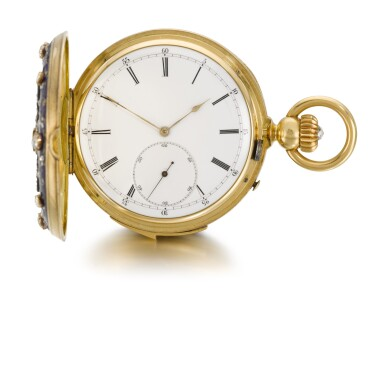 View 3. Thumbnail of Lot 26. SWISS  [ 瑞士製]    A GOLD AND ENAMEL HUNTING CASED MINUTE REPEATING KEYLESS LEVER WATCH WITH AMERICAN EAGLE AND CRESCENT STAR MOTIFS  CIRCA 1865, NO. 17738  [ 黃金畫琺瑯三問懷錶飾美國鷹及星月主題圖案,年份約1865,編號17738].