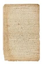 SULLY, duc de. Manuscrit autographe. [Ca1598 ?]. 4 p. in-f°. Déboires de fortune quand il soutenait le futur Henri IV
