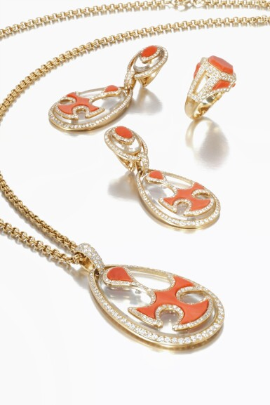 View 2. Thumbnail of Lot 743. Cartier | Coral, rock crystal and diamond demi-parure and a ring, circa 1970 | 卡地亞 | 珊瑚配白水晶及鑽石首飾套裝、戒指一枚,約1970年.